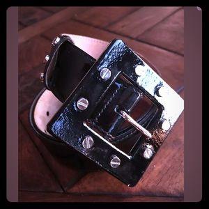 "Dolce&Gabbana Patent Leather Belt Square Buckl 30"""